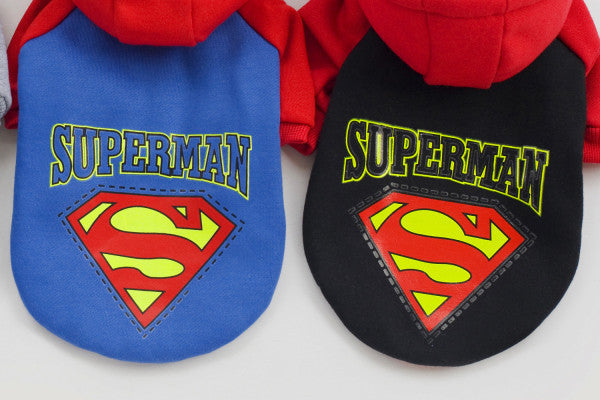 100% Cotton Material Superman / Batman Printing Sport Hood Dog Clothes Pet Clothing Grey + Black + Blue