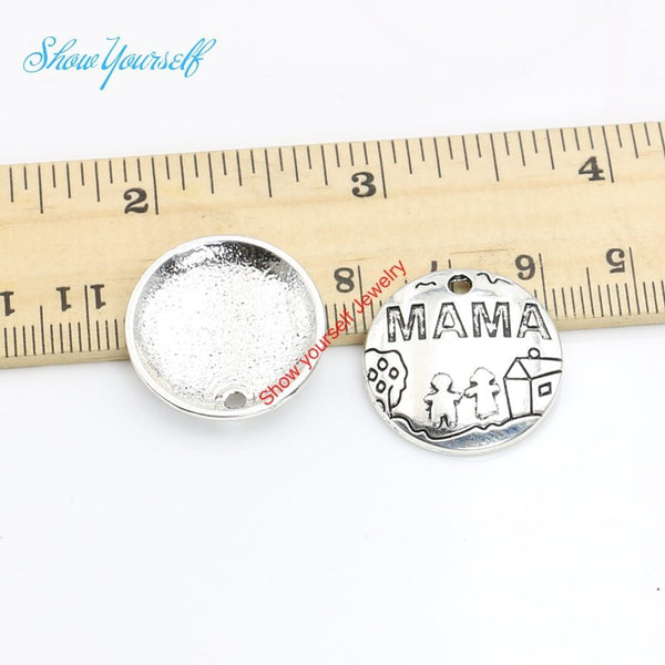 Antique Silver Plated Round Mama Charms Pendants for Bracelets Necklace Jewelry Making DIY Handmade Craft 22mm