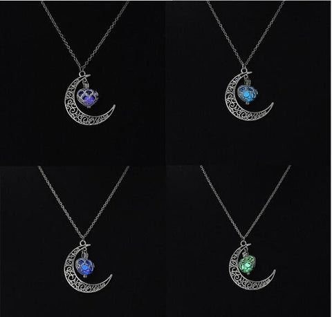 4 Color Moon Heart Glowing Luminous Stone Pendant Vintage Steampunk Hollow Glowing Necklaces Valentine's Day Gift Jewelry