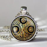 Steampunk doctor dr who time chain handmade drama white circle line Necklace 1pcs/lot bronze / silver Glass mens Pendant jewelry