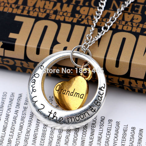 2015 Christmas Day Grandma Gift Statement Necklace Retro Gold Heart With Circle Pendant Necklaces Family Jewelry For Women