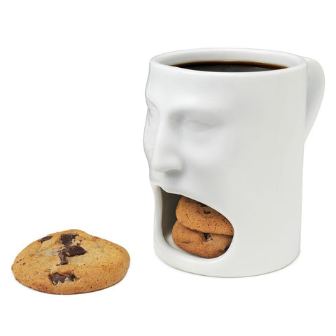 1Piece Face Mug - Ceramic Cookies Cup Dunk Mug with Biscuit holder