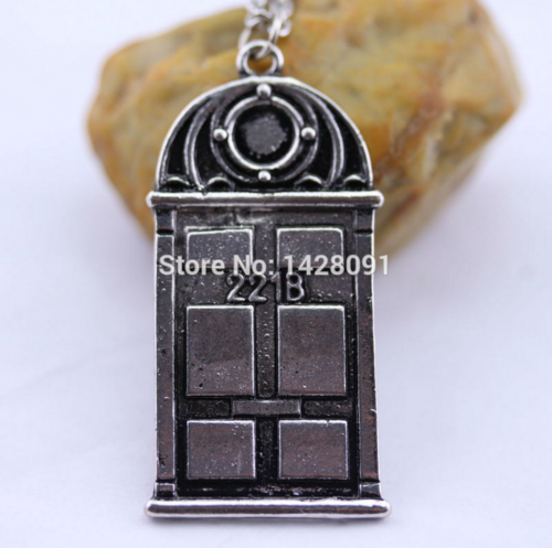 Movie Jewelry Door Sherlock Necklace 221B Pendant Chain Necklace