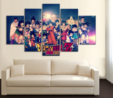 HD Printed Dragon Ball Z - The Whole Family Saiyan and Friends 5 Piece Canvas