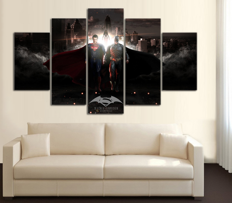 HD Printed Batman vs Superman 5 Piece Canvas