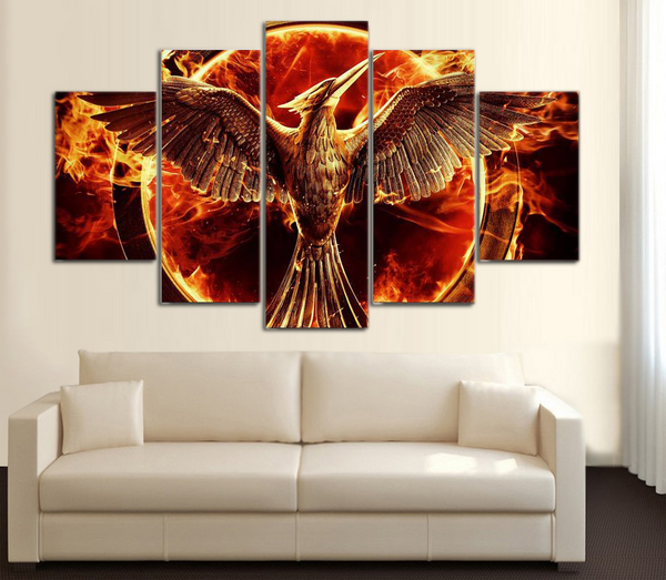 HD Printed Hunger Game Phoenix Fire Bird 5 Piece Canvas
