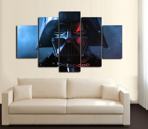 HD Printed Star Wars Darth Vader Face 5 Piece Canvas
