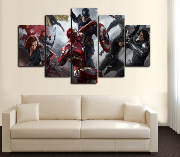 HD Printed Captain America Iron Man Civil War in Battle 5 Piece Canvas