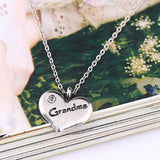 Heart Shape Silver Plated Jewelry Fashion Crystal Fine Jewelry Grandma Woman Statement Necklace