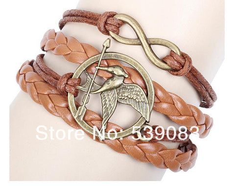 2015 The Newest Metal Hunger Games Birds Infinity Bracelet Leather Multilayer bracelet FB2013257