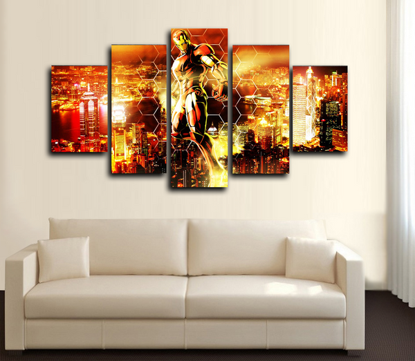 HD PRINTED IRON MAN FLYING IN THE AIR 5 PIECES CANVAS PRINT