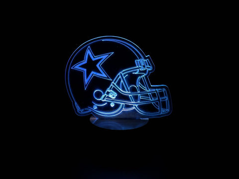 3D Dallas Cowboy Led Desk Lamp Flash Changing Colour