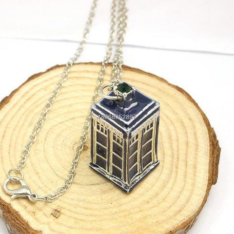 Blue TARDIS necklace Doctor Who necklace