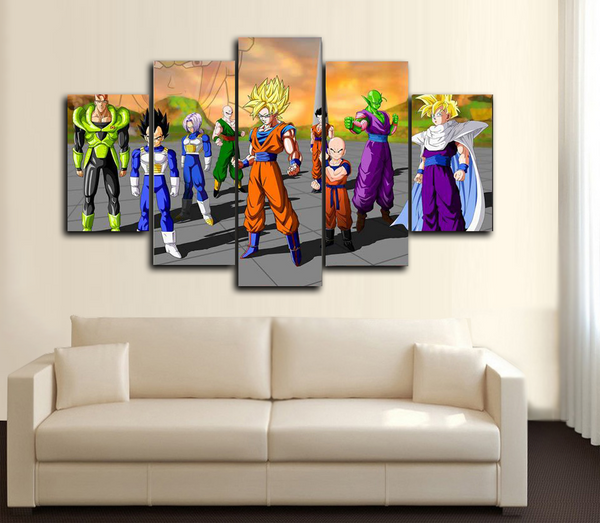 HD Printed Dragon Ball Z - A Team 5 Piece Canvas
