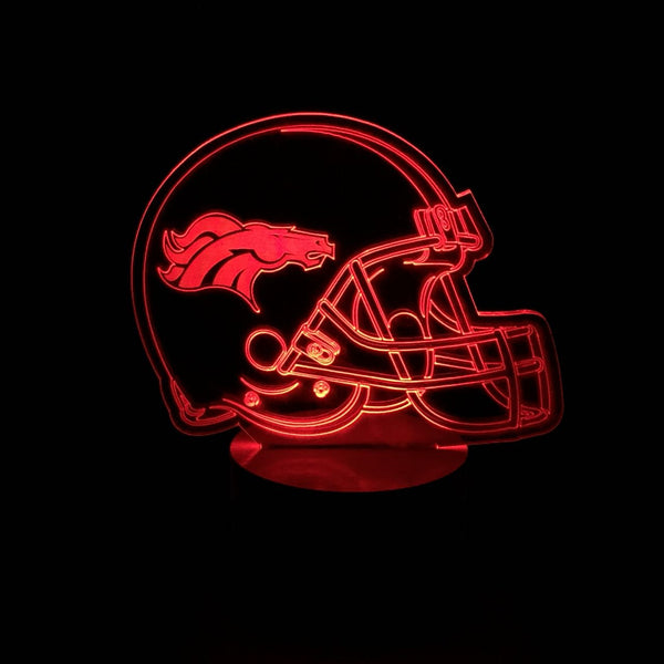 3D Denver Broncos Led Desk Lamp Flash Changing Colour