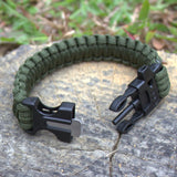 4 in 1 Flint Fire Starter Whistle,Outdoor Camping Survival Gear Buckle Travel Kit Equipment,Paracord Rescue Rope Escape Bracelet