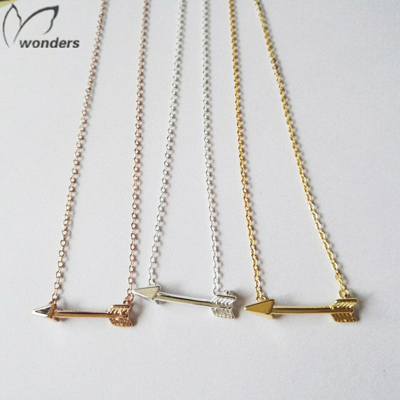 2015 Metalwork Minimalist Jewelry Bridesmaid Gift Silver Rose Gold Hunger Games Arrow Necklace Pendants For Women Men
