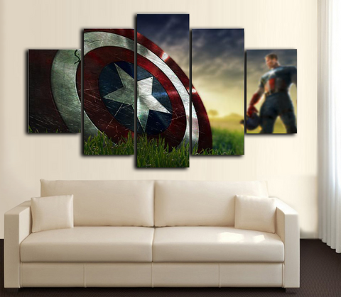 HD Printed Captain America 5 Piece Canvas