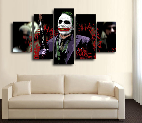 HD Printed Movie Joker art 5 Piece Canvas