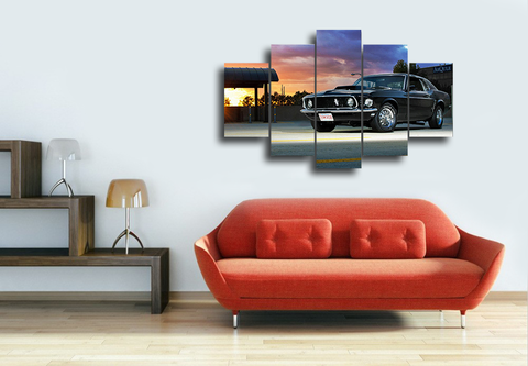 Hd Printed Muscle Car Group Canvas