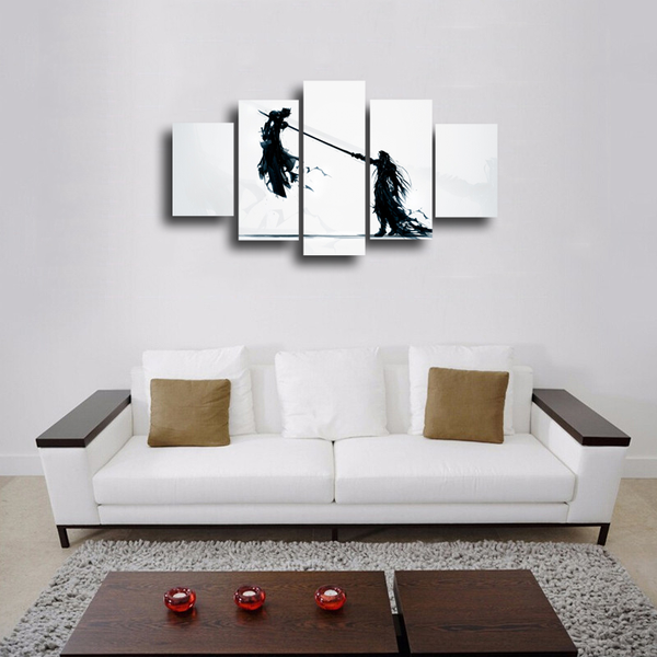 HD Printed Cloud Strife Vs Sephiroth Final Fantasy 5 Pieces Canvas