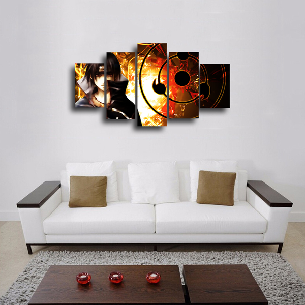 HD Printed Naruto Shippuden - Sasuke 5 Pieces Canvas