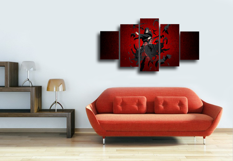 HD Printed Itachi Uchiha - Naruto Character 5 Pieces Canvas