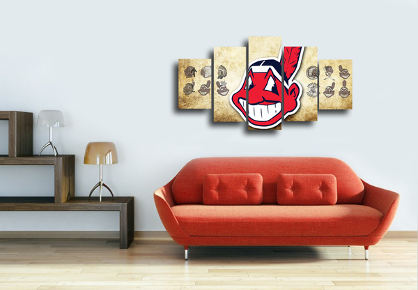 HD Printed Cleveland Indians Logo 5 Pieces Canvas