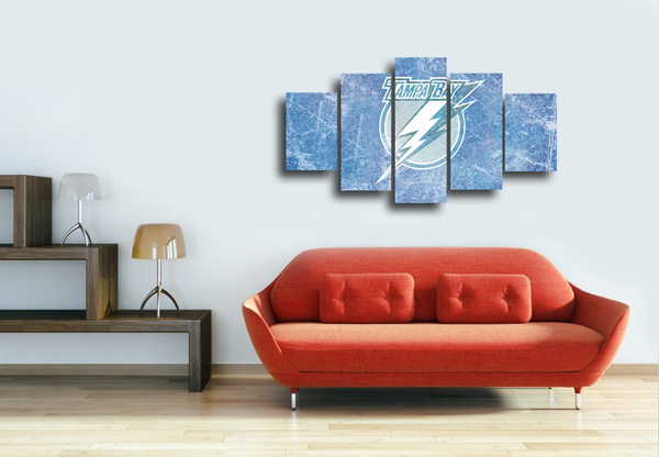 HD Printed Tampa Bay Lightning Logo 5 Pieces Canvas