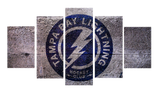 HD Printed Tampa Bay Lightning Hockey Logo 5 Pieces Canvas