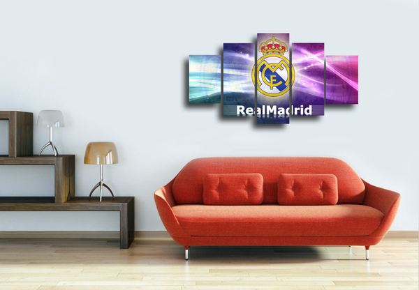 HD Printed Real Madrid Logo 5 Pieces Canvas