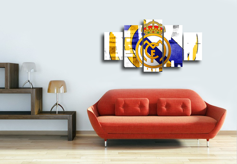 HD Printed FC Real Madrid Logo 5 Pieces Canvas