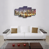 HD Printed New York Night Skyline 5 Pieces Canvas