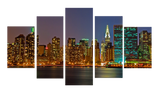 HD Printed Night In New York 5 Pieces Canvas