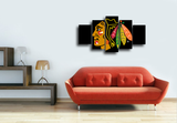 HD Printed Chicago Blackhawks Logo 5 Piece Canvas
