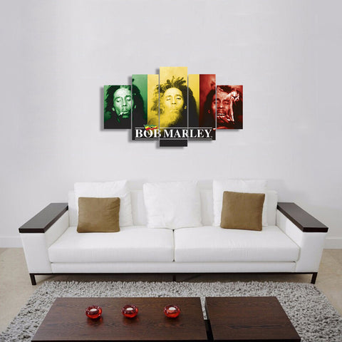 HD Printed Bob Marley 5 Pieces Canvas