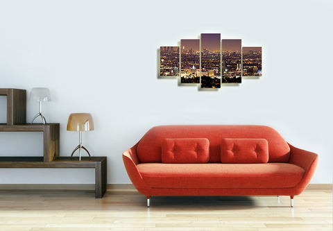 HD Printed Los Angeles Panoramic 5 Pieces Canvas