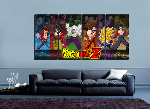 HD Printed Dragon Ball 4 Pieces Canvas
