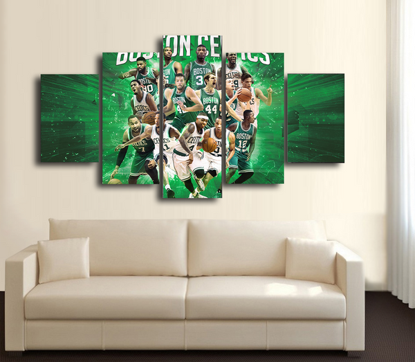 HD Printed Boston Celtics Basketball 5 Pieces Canvas