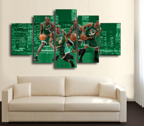 HD Printed Boston Celtics Basketball 5 Pieces Canvas Style B