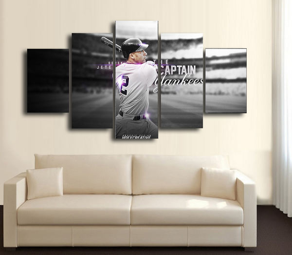 HD Printed Derek Jeter Baseball 5 Pieces Canvas Style C