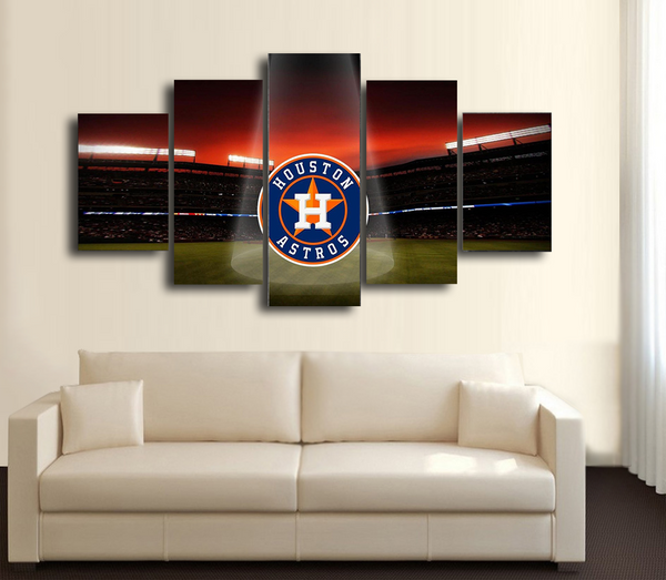 HD Printed Houston Astros Logo 5 Pieces Canvas