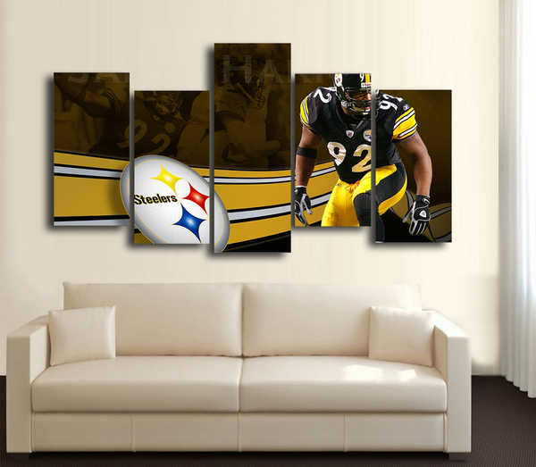 HD Printed Pittsburgh Steeler Football 5 Pieces Canvas Style B