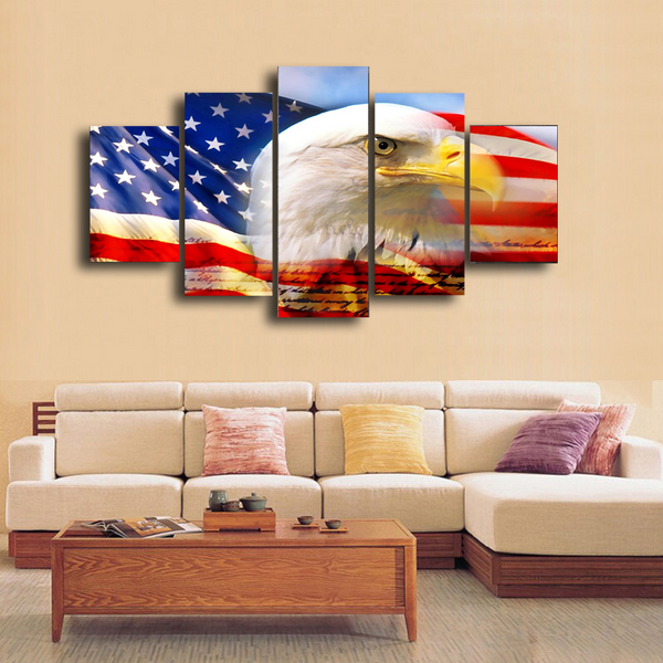 HD Printed American Flag 5 Pieces Canvas