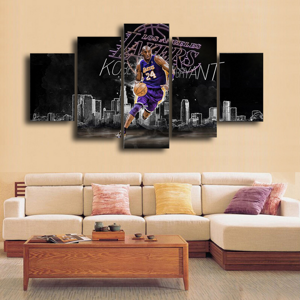 HD Printed Kobe Bryant LA Lakers 24 5 Pieces Canvas