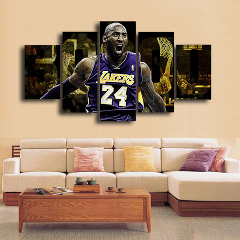 HD Printed Kobe Bryant LA Lakers Legend 5 Pieces Canvas