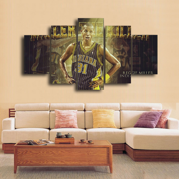 HD Printed Reggie Miller Indiana Pacers Basketball 5 Pieces Canvas