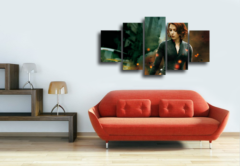 HD Printed Black Widow Hero 5 Pieces Canvas