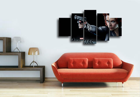 HD Printed Black Widow The Avengers 5 Pieces Canvas