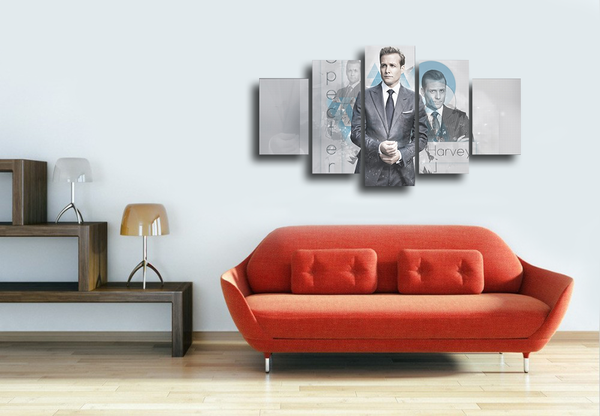 HD Printed Harvey Specter Suits 5 Pieces Canvas